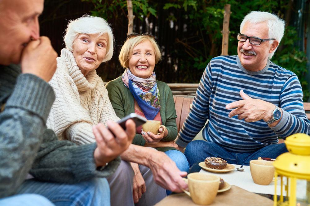 senior friends chatting
